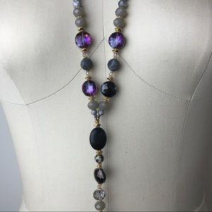 Semi precious Y drop style necklace